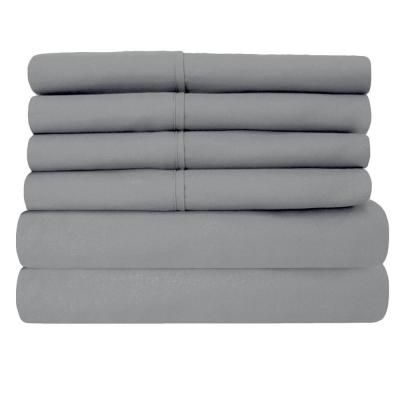 6-Piece Gray Super-Soft 1600 Series Double-Brushed Queen Microfiber Bed Sheets Set
