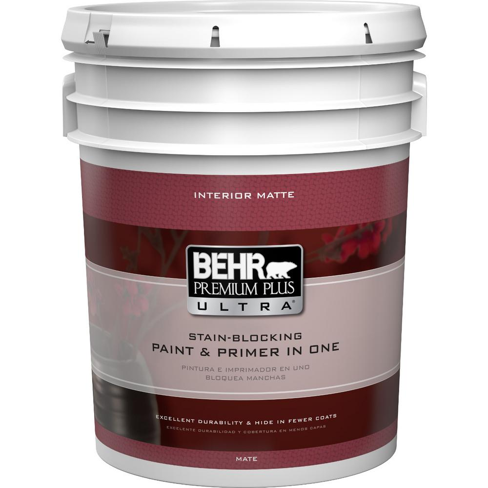 Behr Premium Plus Ultra 5 Gal Bxc 02 Bauhaus Matte Interior Paint And Primer In One 175305 The Home Depot