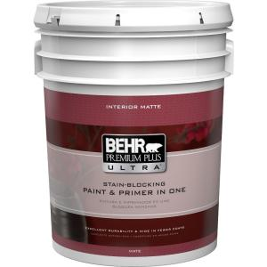 Behr Premium Plus Ultra 5 Gal Ultra Pure White Flat Matte Interior Paint 175005 The Home Depot