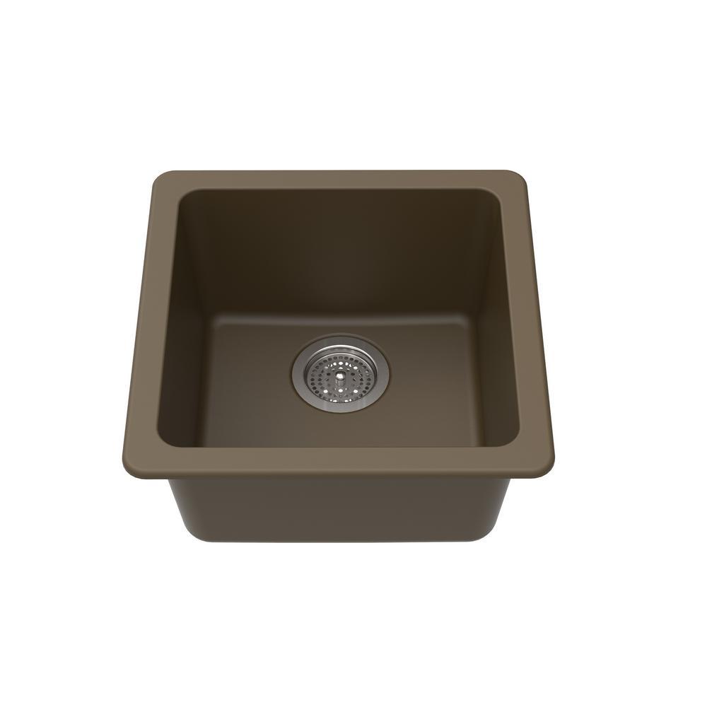 Winpro Dual Mount Granite Composite 16-5/8 in. L x 16-5/8 in. L x 8 in. Single Bowl Kitchen Bar Sink in Mocha