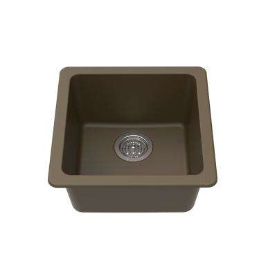 Dual Mount Granite Composite 16-5/8 in. L x 16-5/8 in. L x 8 in. Single Bowl Kitchen Bar Sink in Mocha