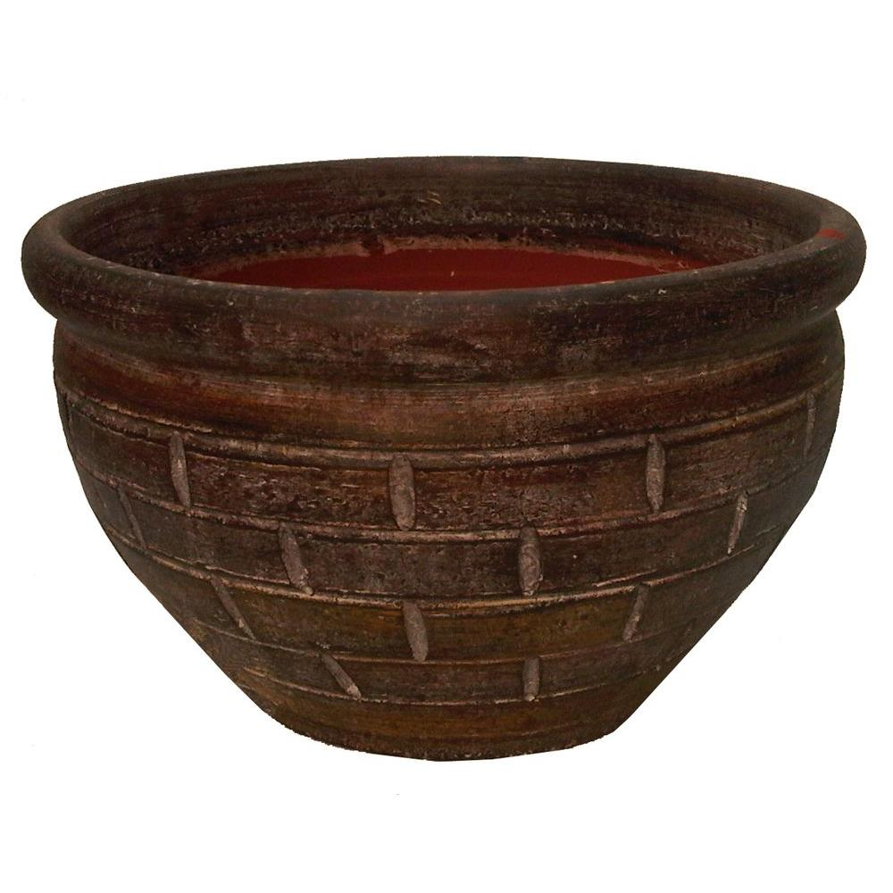 15 in. Anadel Brick Clay Egg Plant Pot