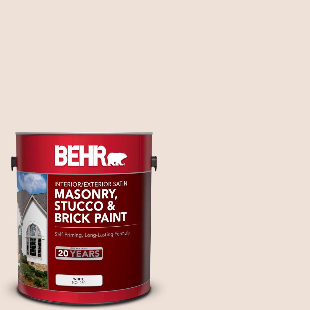 BEHR Premium 1 gal. #MS-01 White Onyx Satin Interior/Exterior Masonry, Stucco and Brick Paint