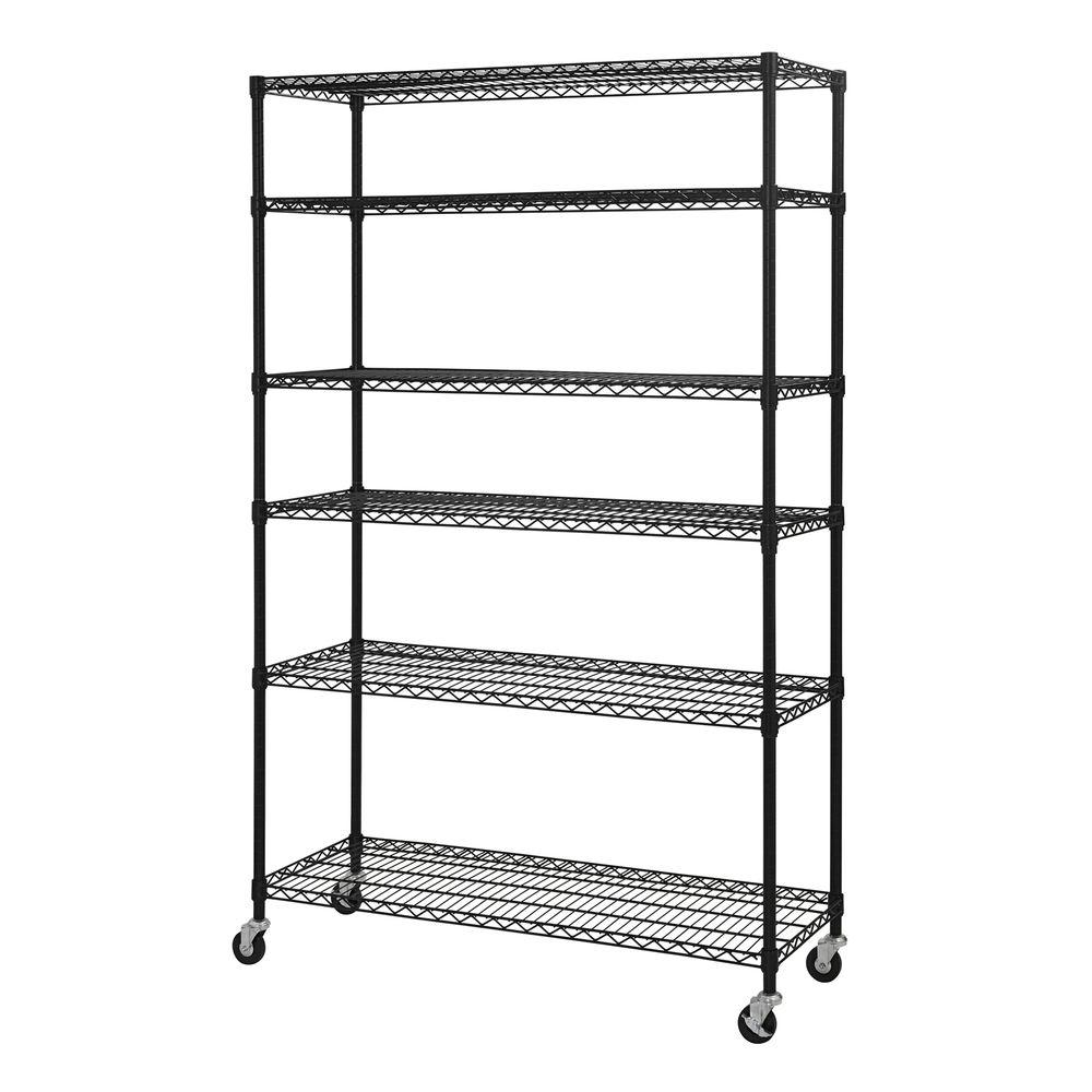 Sandusky 74 in. H x 48 in. W x 18 in. D 6-Shelf Steel Wire Shelving on interior shelves, wood shelves, piping shelves, three shelves, plumbing shelves, concrete shelves, kitchen shelves, frame shelves, radiator shelves, parts shelves, security shelves, drywall shelves, blue shelves, welding shelves,