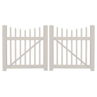 Stratford 8 ft. W x 3 ft. H Tan Vinyl Picket Fence Double Gate