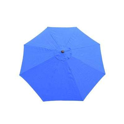 9 ft. Tilt Patio Umbrella in Blue and Cast Iron Patio Umbrella Base