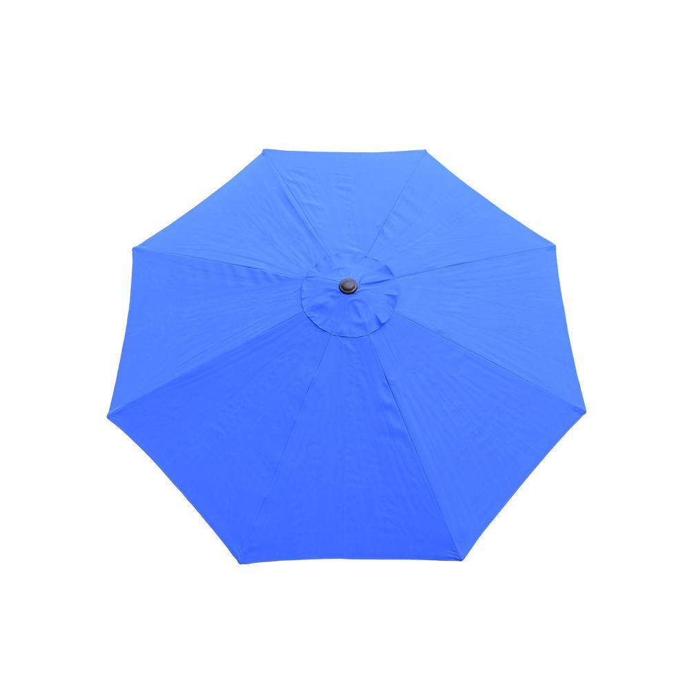 9 ft. Tilt Patio Umbrella in Blue and Cast Iron Patio Umbrella Base