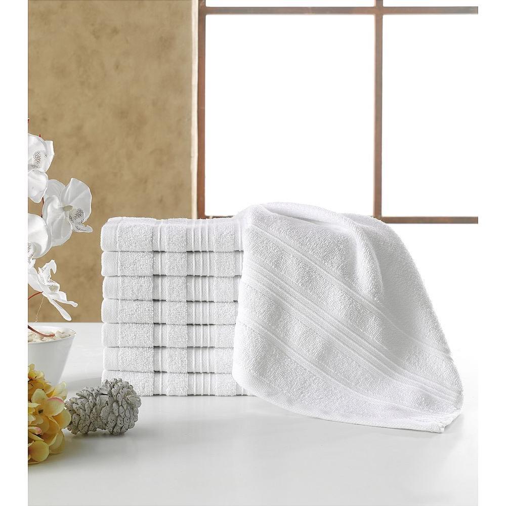 Solomon Collection 13 in. W x 13 in. H 100% Turkish Cotton Bordered Design Luxury Washcloth in White (Set of 8)