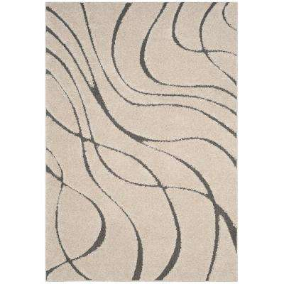 Florida Shag Cream/Gray 3 ft. 3 in. x 5 ft. 3 in. Area Rug