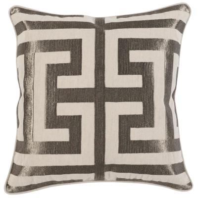 Capital Platinum 22 in. x 22 in. Linen Metallic Embroidery Decorative Pillow