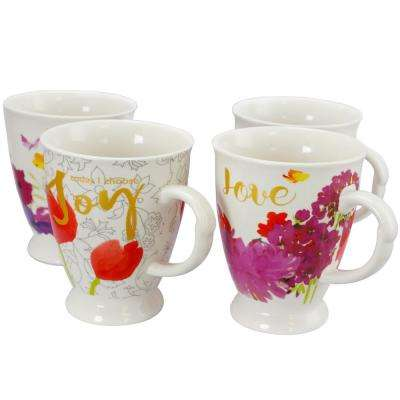 Bold Assorted Designs Floral 17.4 oz. Cup (Set of 4)