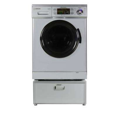 1.57 cu. ft. High -Efficiency Vented / Ventless Electric All-in-One Washer Dryer Combo with Pedestal in Silver