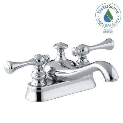 Revival 4 in. Centerset 2-Handle Low-Arc Water-Saving Bathroom Faucet in Polished Chrome with Traditional Lever Handle