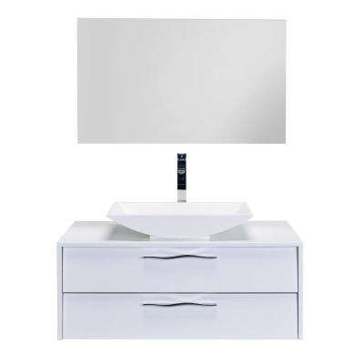 Zenvi 39 in. W x 20 in. D x 21 in. H Vanity in White with Acrylic Top in White with White Basin