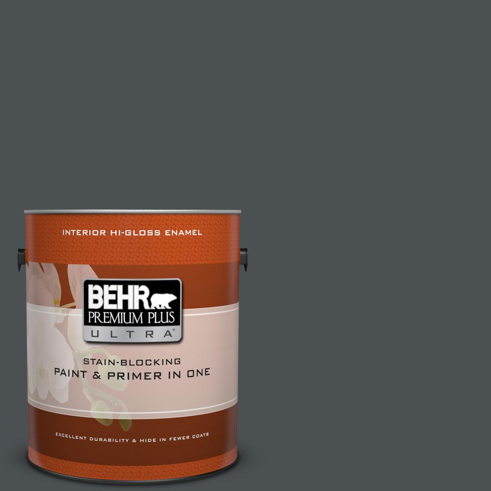 1 gal. #PPU26-01 Satin Black Hi-Gloss Enamel Interior Paint