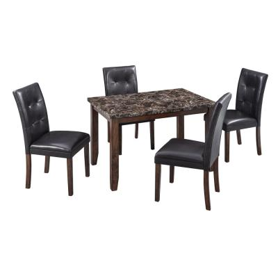 5-Piece Brown Faux Marble Dining Set with PU Chairs