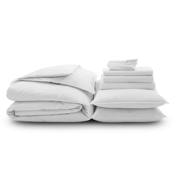 10-Piece White Solid 300 Thread Count Cotton Queen Sheet Set