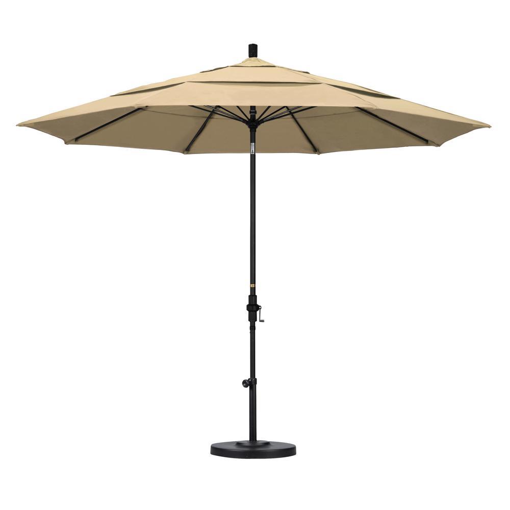 11 ft. Fiberglass Collar Tilt Double Vented Patio Umbrella in Antique Beige Olefin