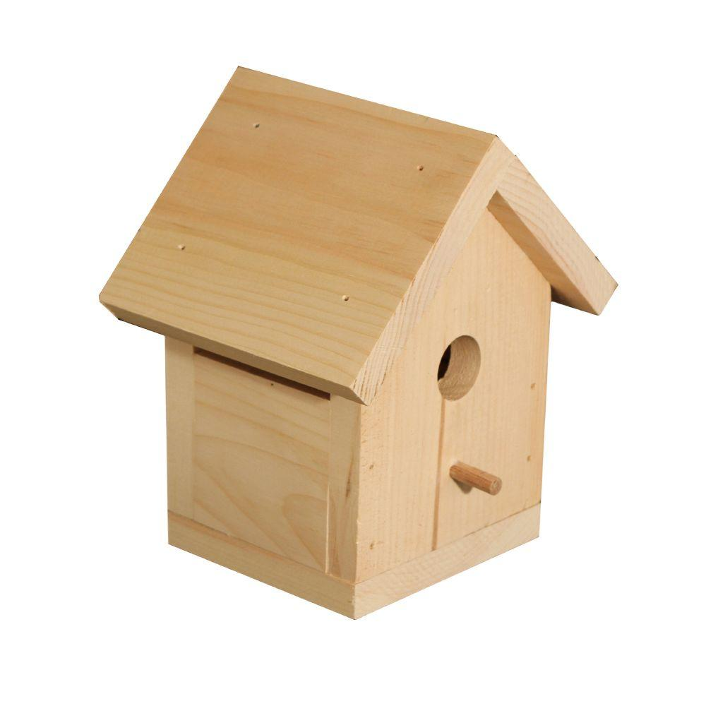 Crates & Pallet 9.125 in. x 7.875 in. Natural Pine Traditional Birdhouse