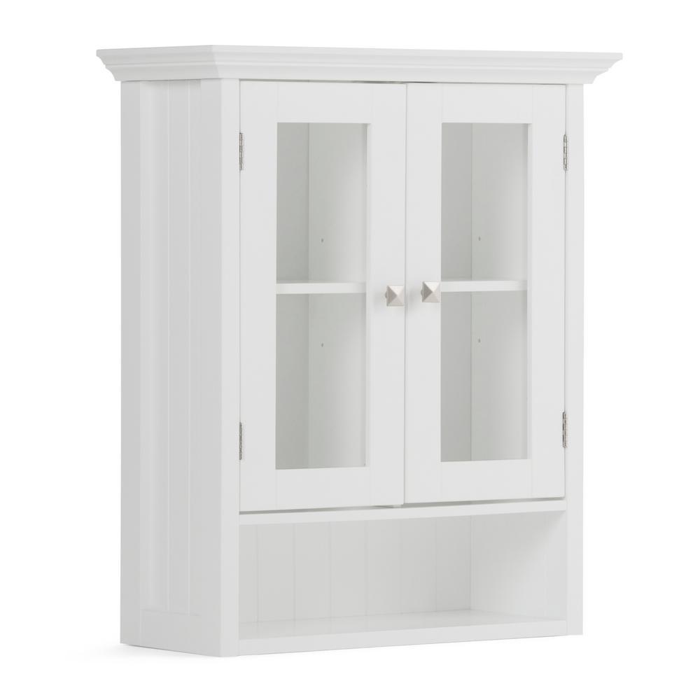 Simpli Home Acadian 23 6 In W X 28 H 10 D Double Door Wall Bath Cabinet White