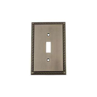 Rope Switch Plate with Single Toggle in Antique Pewter