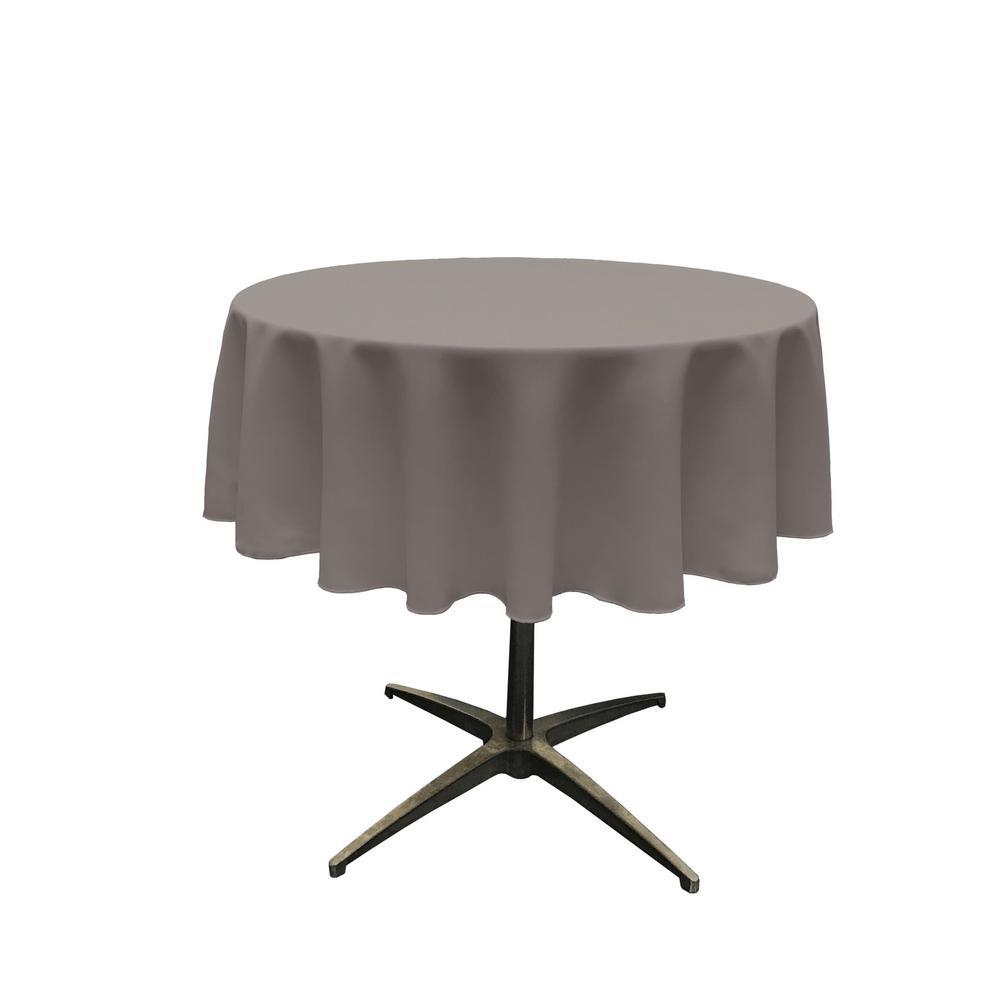 58 in. Round Dark Gray Polyester Poplin Tablecloth
