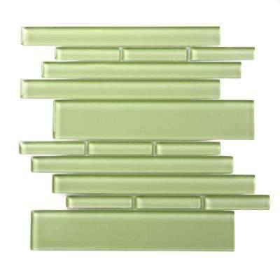 Piano Glass Tempo 10-1/2 in. x 9-1/2 in. x 7.93 mm Green Glass Mesh-Mounted Mosaic Wall Tile (6.9 sq. ft. / case)