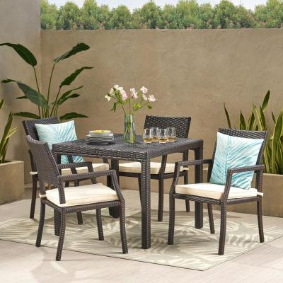 Multi-Brown 5-Piece Wicker Square Outdoor Dining Set with White Cushion