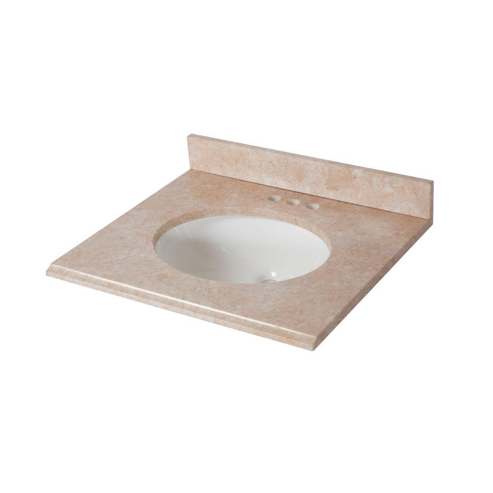 25 in. x 22 in. Stone Effects Vanity Top in Oasis