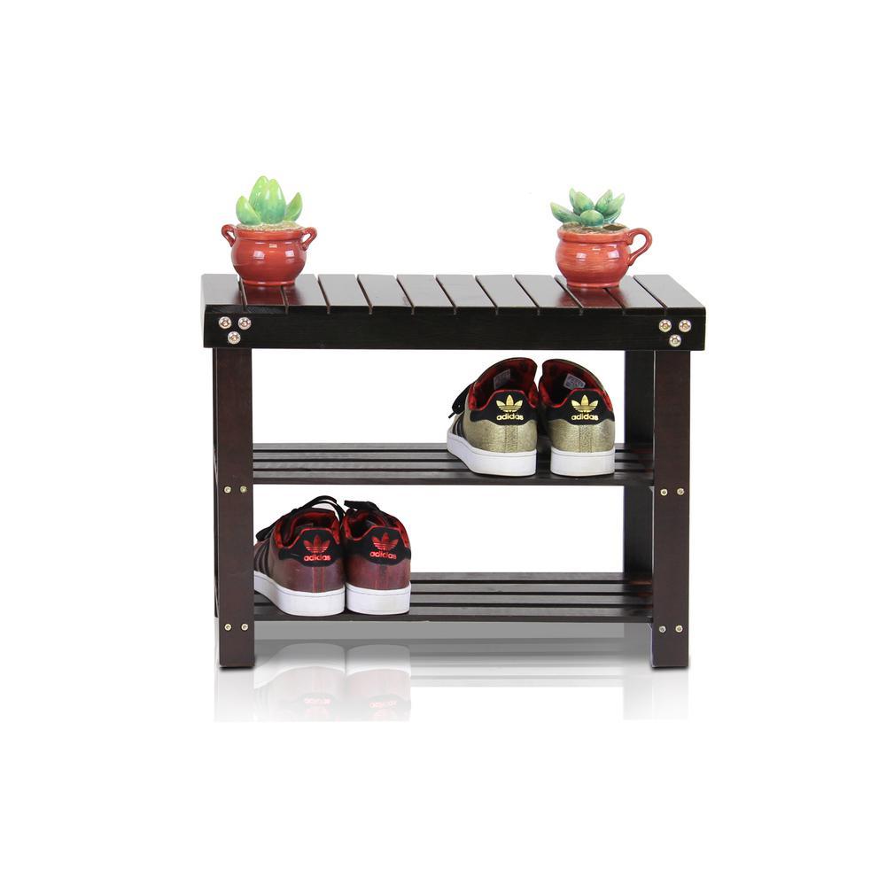 Pine Solid Wood Espresso Color 3-Shelf Multipurpose Rack with Stool