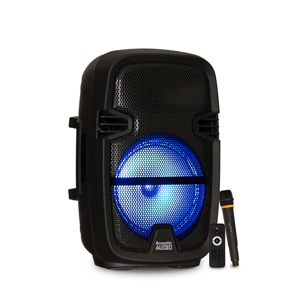 Acoustic Audio By Goldwood Battery Powered 8 In Bluetooth Led Speaker And Wireless Mic Prty82 The Home Depot