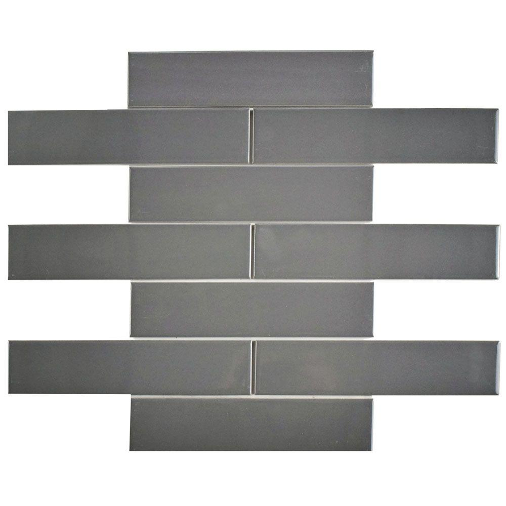 Merola Tile Metro Soho Subway Glossy Grey 1-3/4 in. x 7-3/4 in ...
