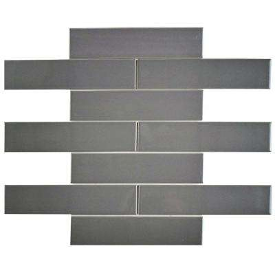 Metro Soho Subway Glossy Grey 1-3/4 in. x 7-3/4 in. Porcelain Floor and Wall Tile (1 sq. ft. / pack)