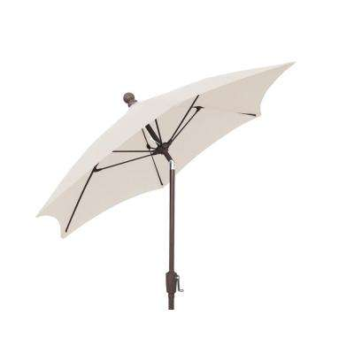 7.5 ft. Patio Umbrella with 2-Piece Chanpagne Bronze Pole Tilted and Natural Canopy
