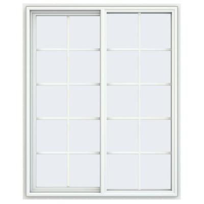 47.5 in. x 59.5 in. V-4500 Series White Vinyl Left-Handed Sliding Window with Colonial Grids/Grilles