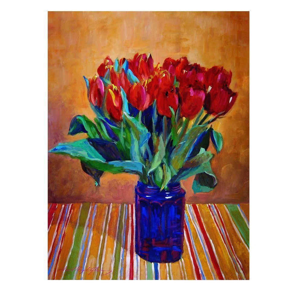 Trademark Fine Art 24 in. x 32 in. Tulips in Blue Glass Canvas Art