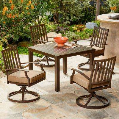 Bridgeport 5-Piece Metal Motion Outdoor Dining Set with Tan Cushions