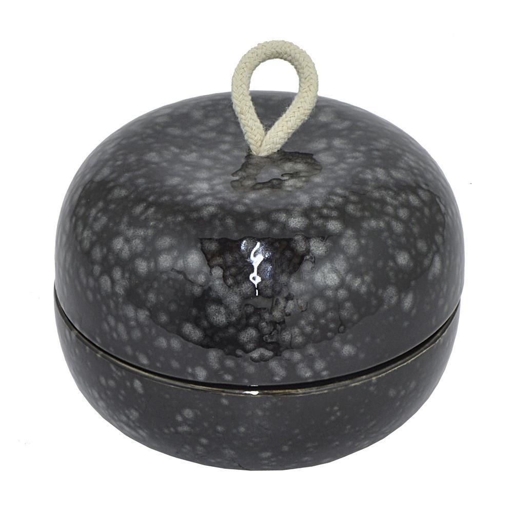 Black Porcelain Ceramic Round Box