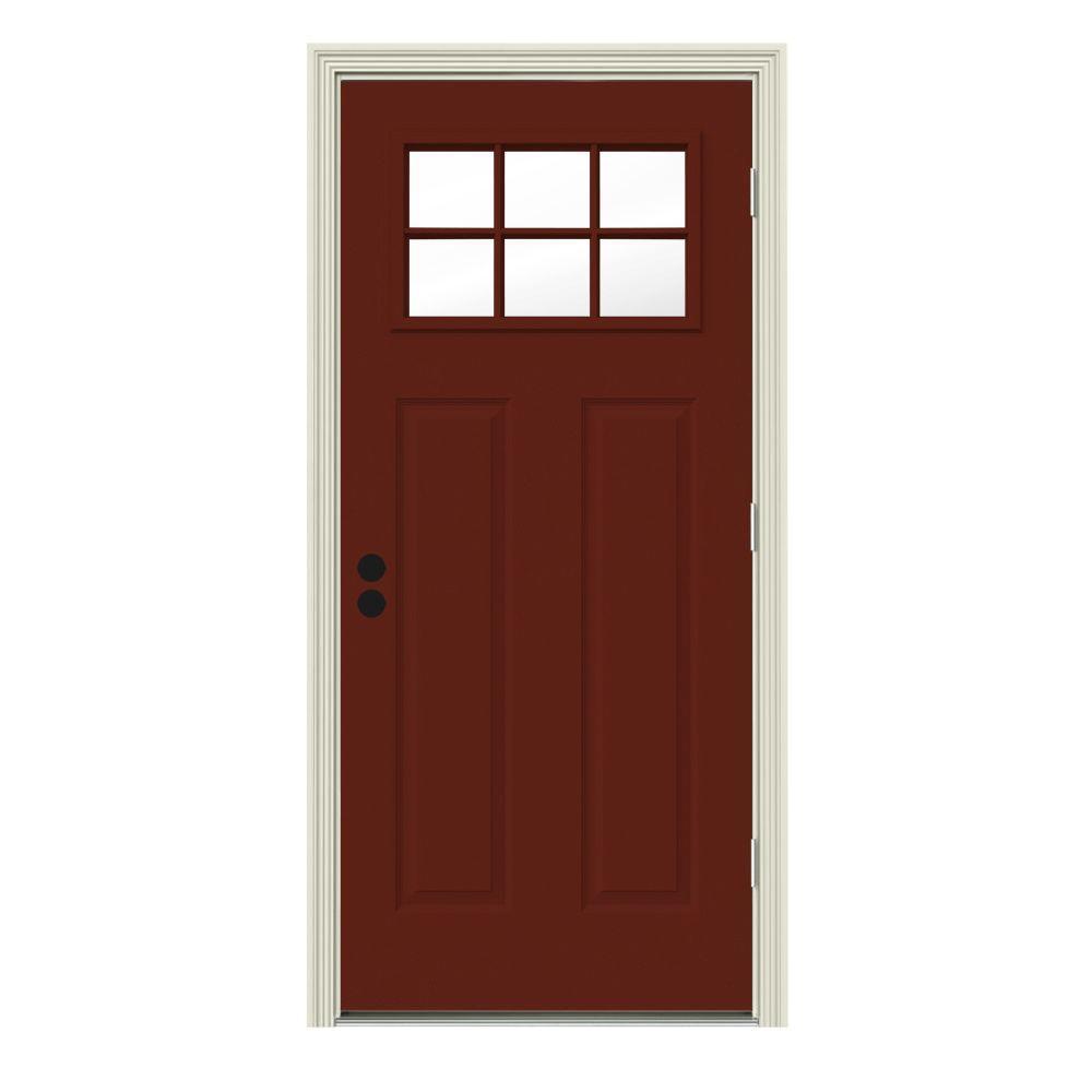 JELD-WEN 32 in. x 80 in. 6 Lite Craftsman Mesa Red w/ White Interior Steel Prehung Left-Hand Outswing Front Door w/Brickmould