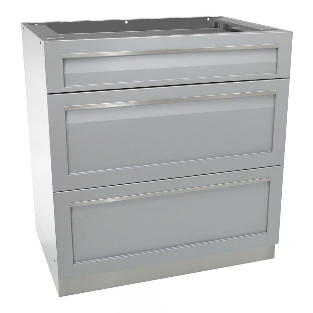 4 Life Outdoor Stainless Steel 3 Drawer 32x35x22 5 In Kitchen Cabinet Base