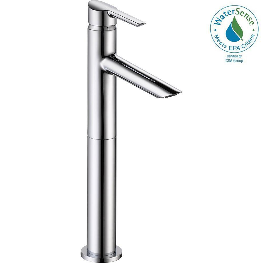 Delta Compel Single Hole Handle Vessel Bathroom Faucet In Chrome