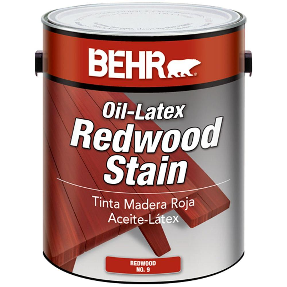 BEHR 1 gal. Redwood Solid Color Oil-Latex Exterior Wood Stain