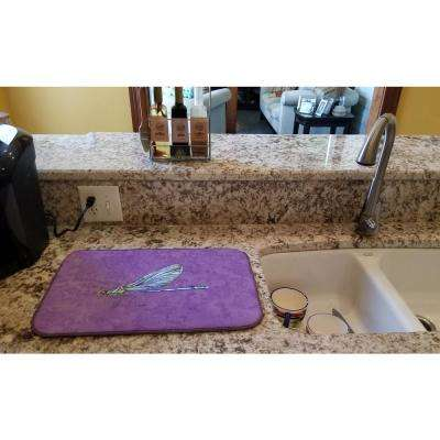 14 in. x 21 in. Multicolor Dragonfly on Purple Dish Drying Mat