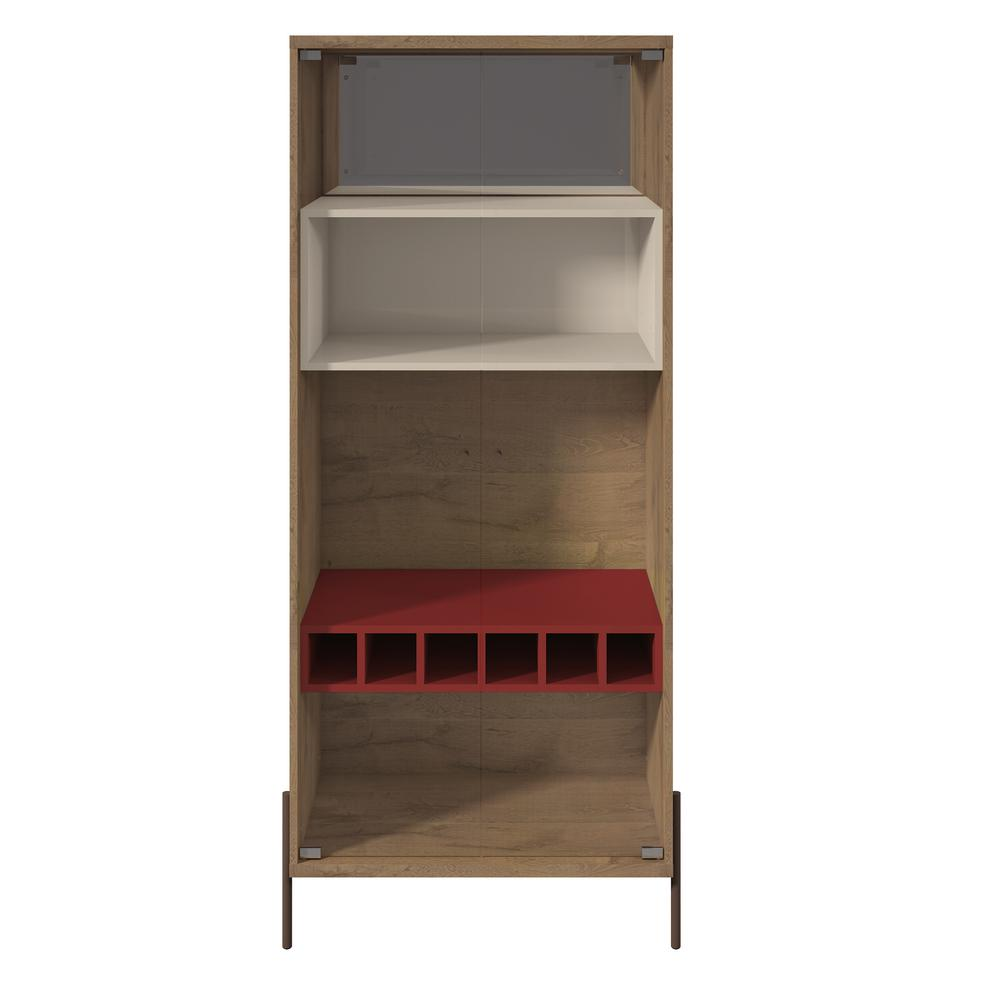 Joy 6-Bottle Red and Off White Wine Cabinet