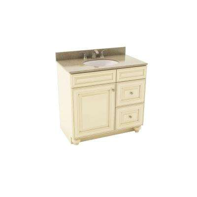 Savannah 37 in. Vanity in Hazelnut with Right Drawers and Silestone Quartz Vanity Top in Kimbler and Oval White Sink