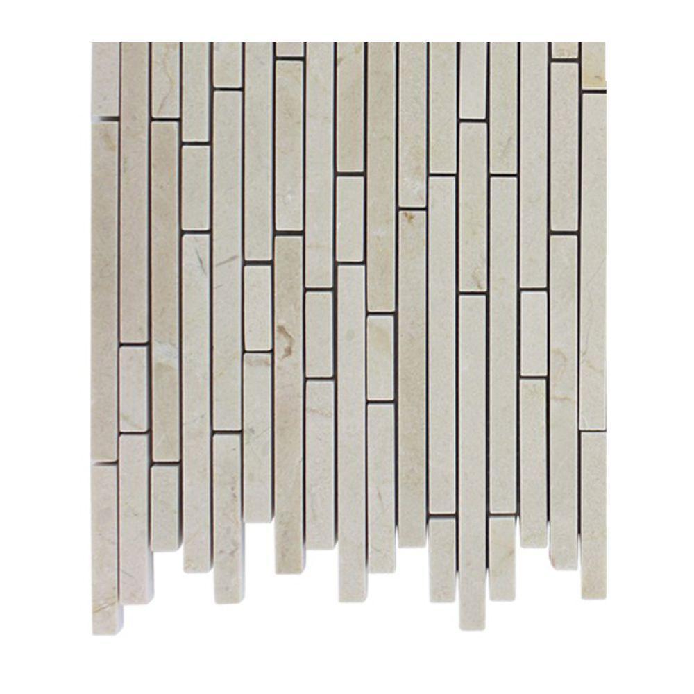 Splashback Tile Windsor 1/4 in. x Random Crema Marfil Pattern Marble ...