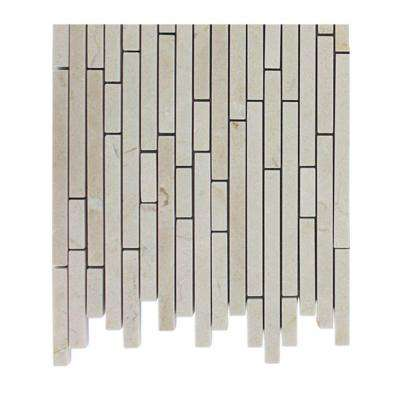 Windsor 1/4 in. x Random Crema Marfil Pattern Marble Mosaic Tiles - 6 in. x 6 in. Tile Sample