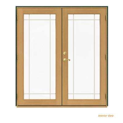 72 in. x 80 in. W-2500 Green Clad Wood Left-Hand 9 Lite French Patio Door w/Stained Interior