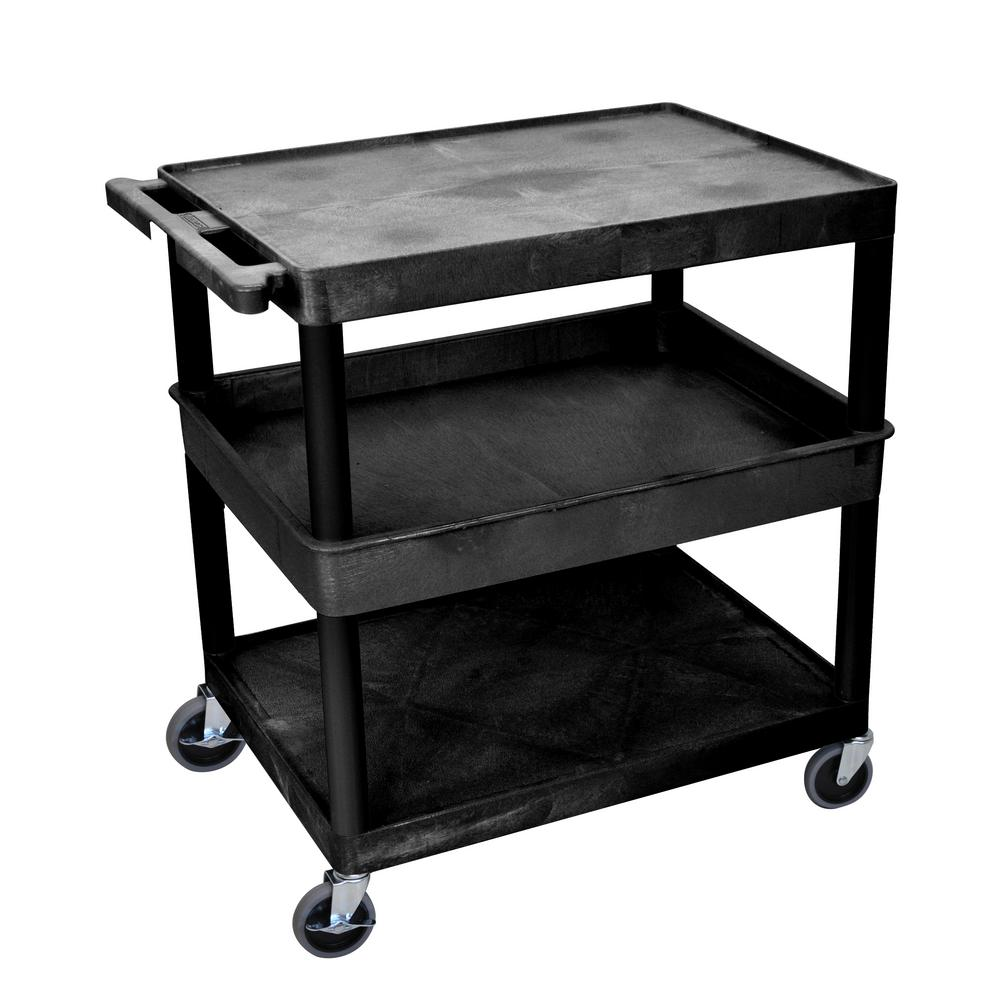 TC 32 in. 3 Shelf Plastic Utility Cart, Black