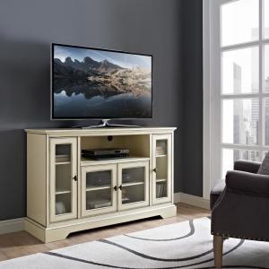 walker edison furniture company 52 in highboy style wood tv stand in antique white hd52c32awh. Black Bedroom Furniture Sets. Home Design Ideas